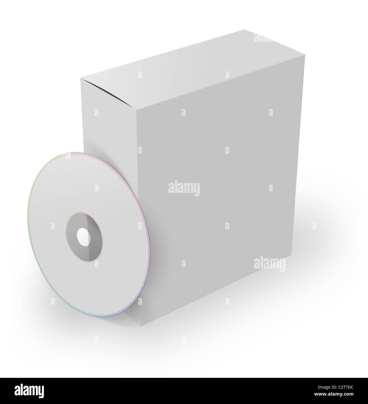 Logiciel 3D box avec lecteur dvd, isolé sur fond blanc Photo Stock