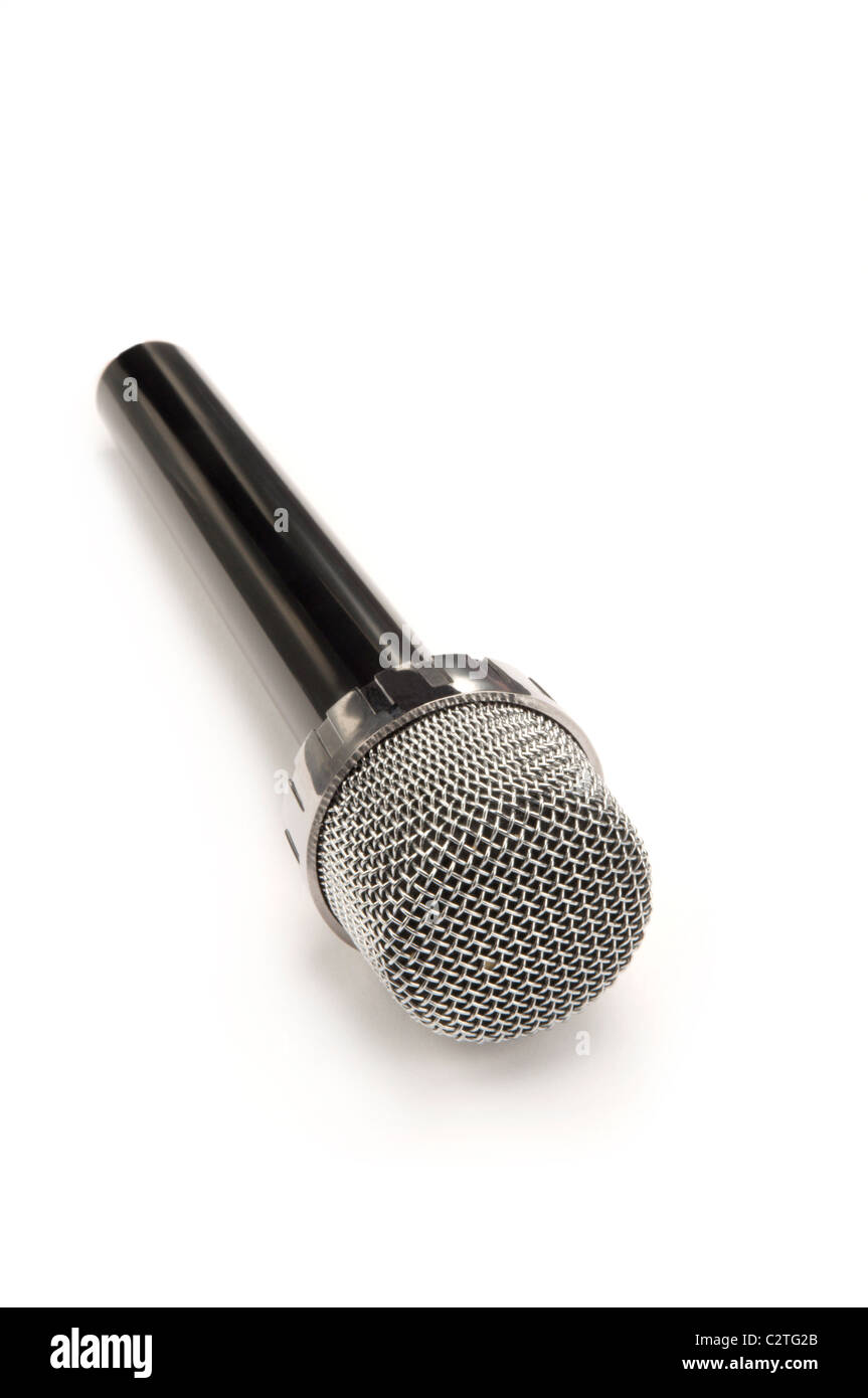 Microphone noir sur blanc Photo Stock