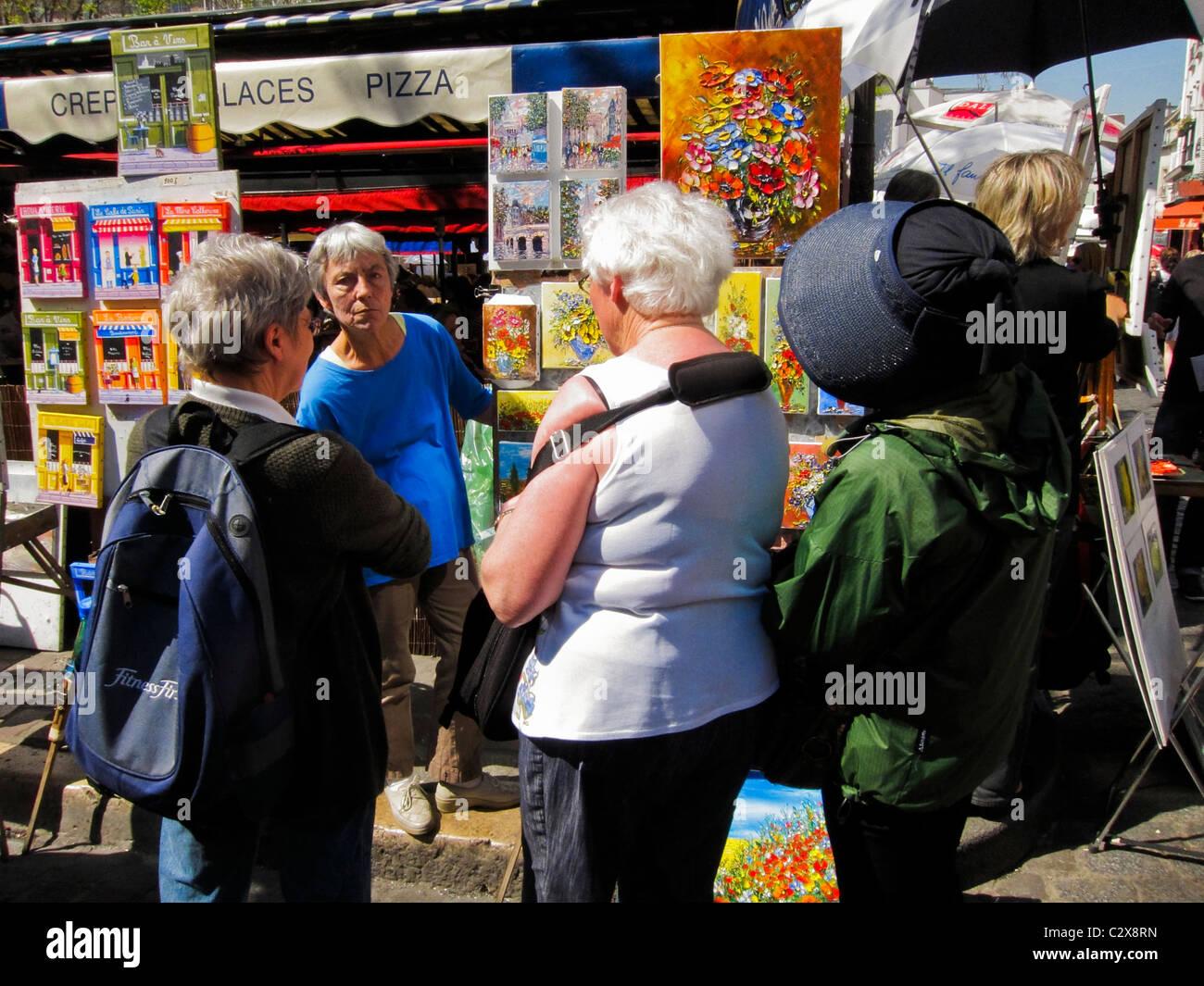 Paris, France, en Visite de Montmartre, le shopping, les artistes de rue sur la 'Place du Tertre' Banque D'Images