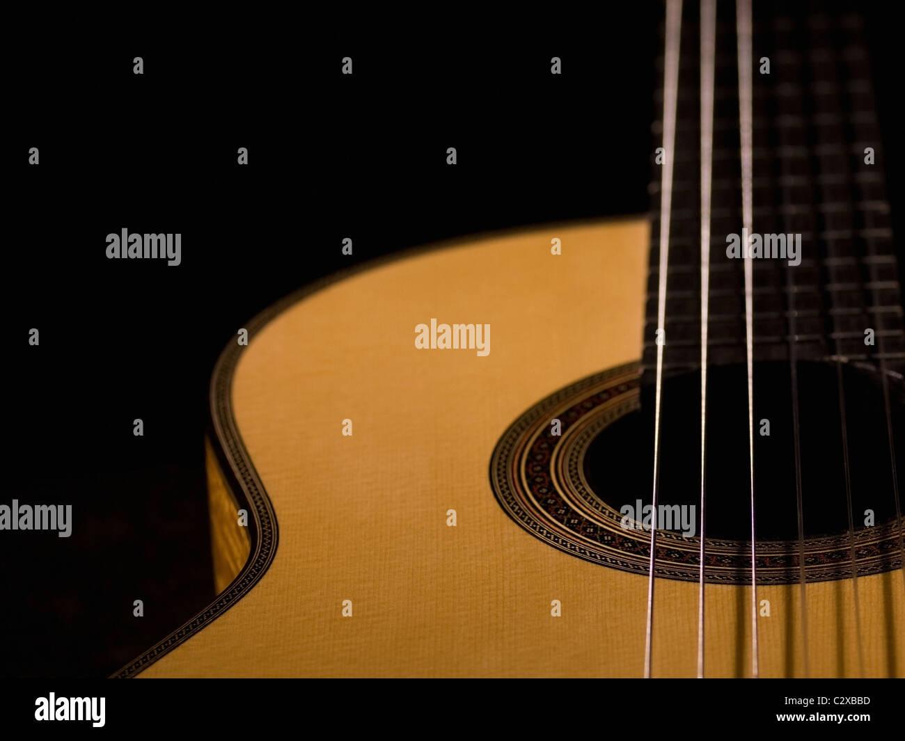Plan d'une guitare acoustique Photo Stock