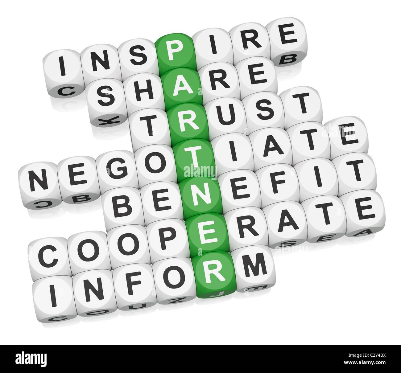 Relations avec les partenaires de mots croisés sur fond blanc Photo Stock