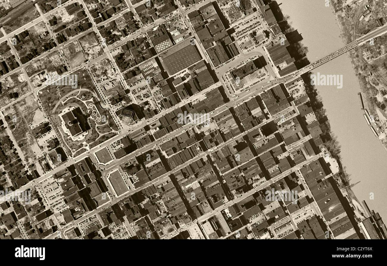 Carte aérienne historique Nashville Tennessee vue 1951 Photo Stock