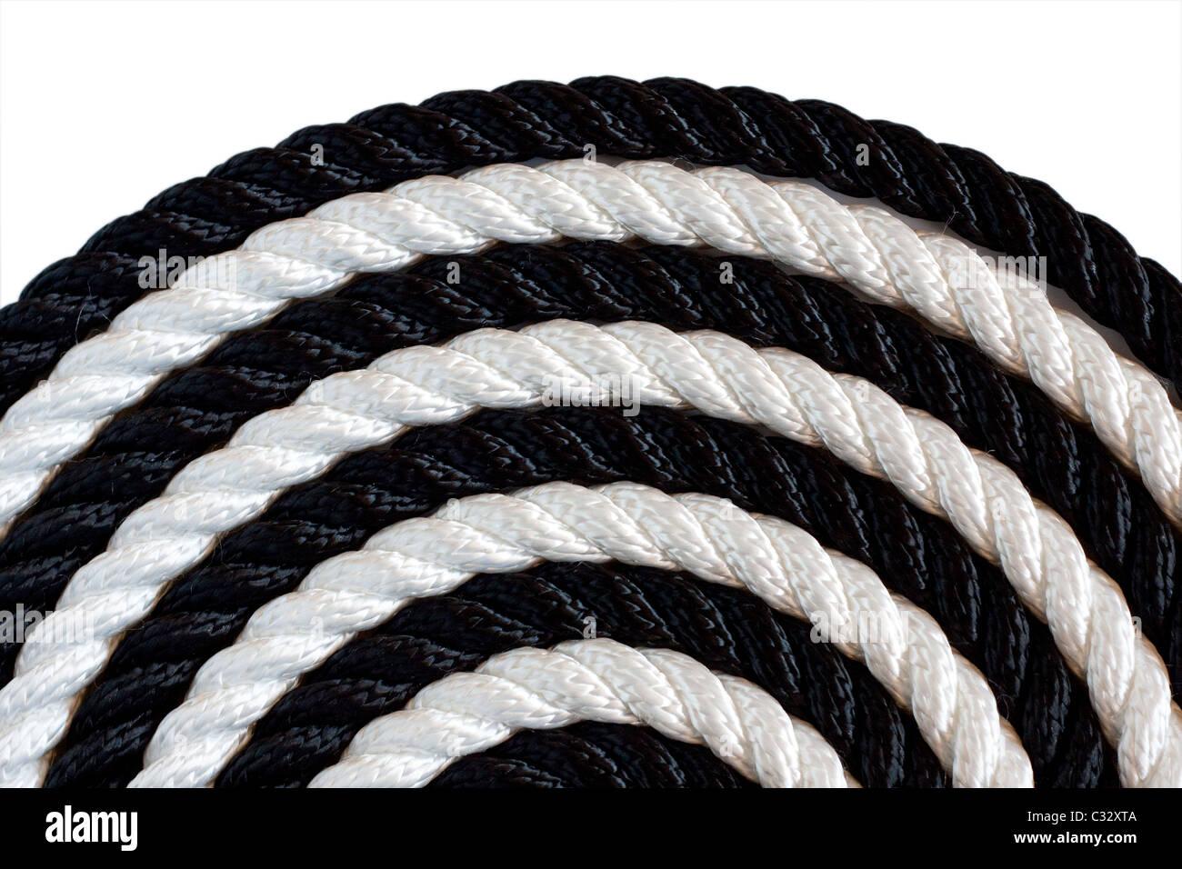 Corde noir et blanc sur fond blanc Photo Stock