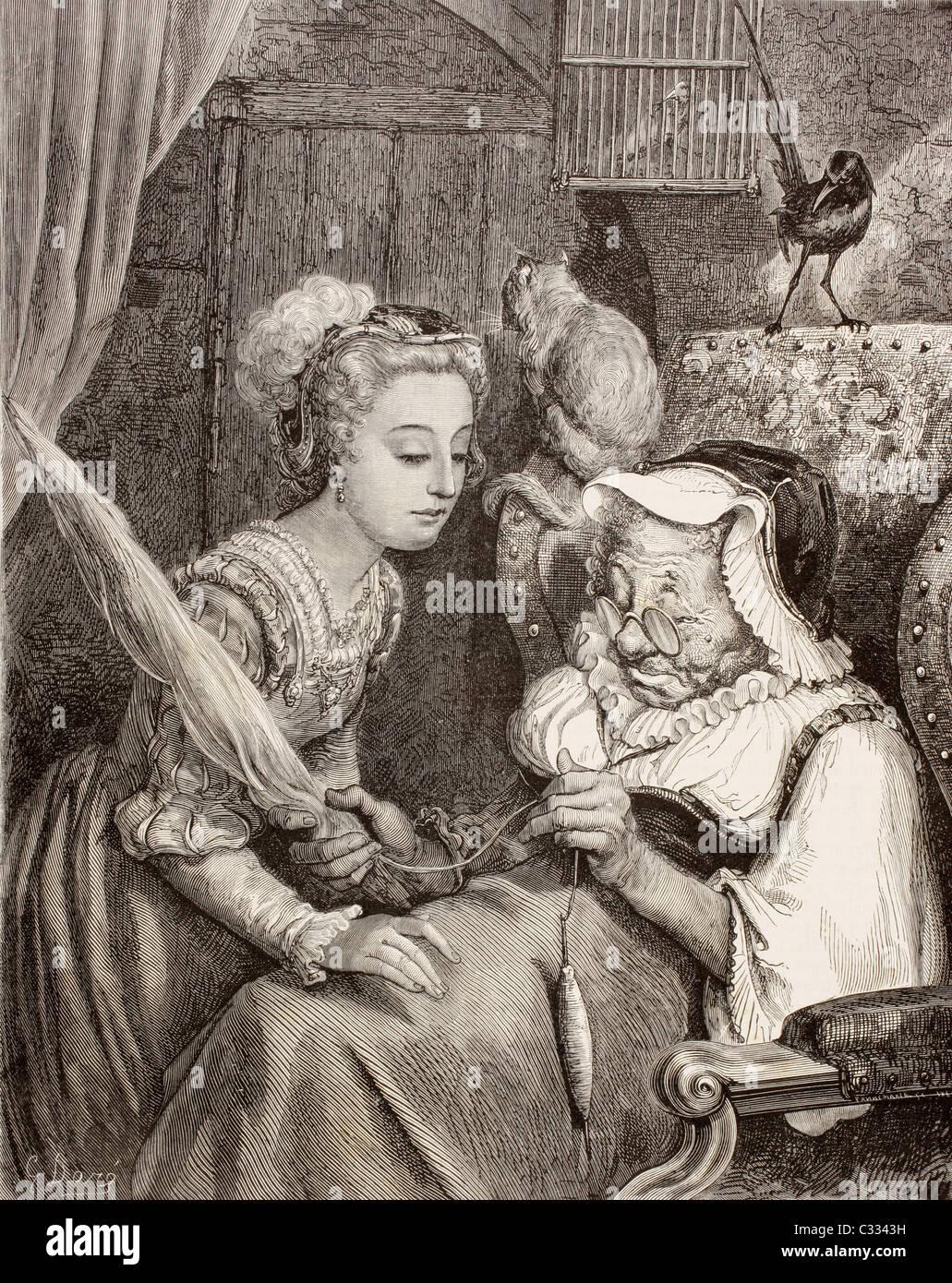 Une scène de la Belle au Bois Dormant par Charles Perrault. La princesse trouve une vieille femme la filature, Photo Stock