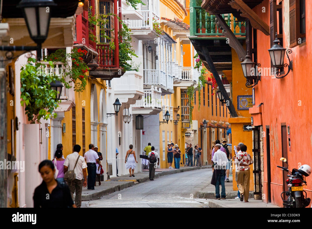 Balcons, Carthagène, Colombie Photo Stock