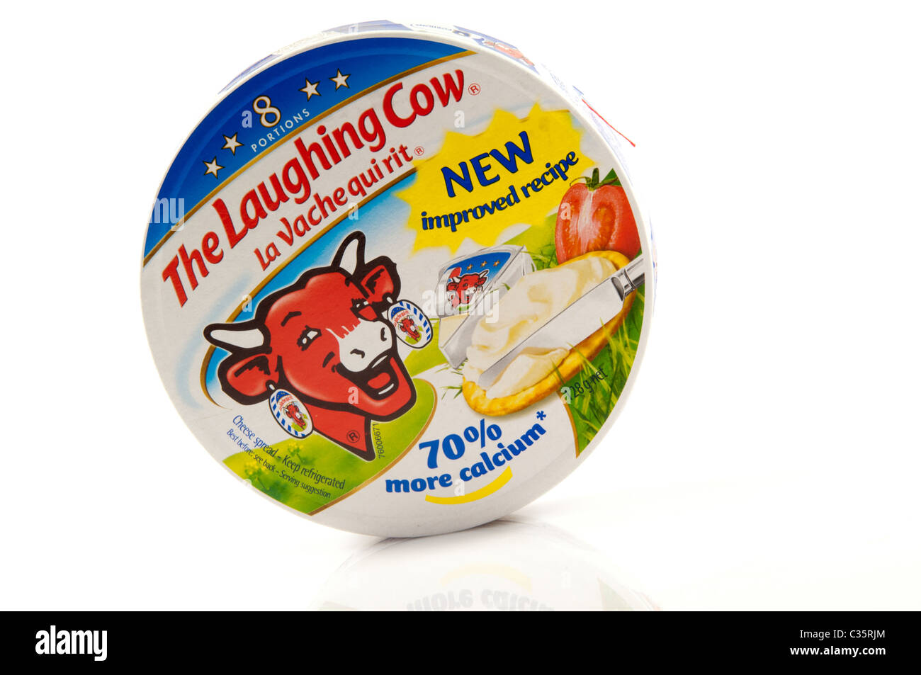 La vache qui rit fromage doux en fond blanc Photo Stock
