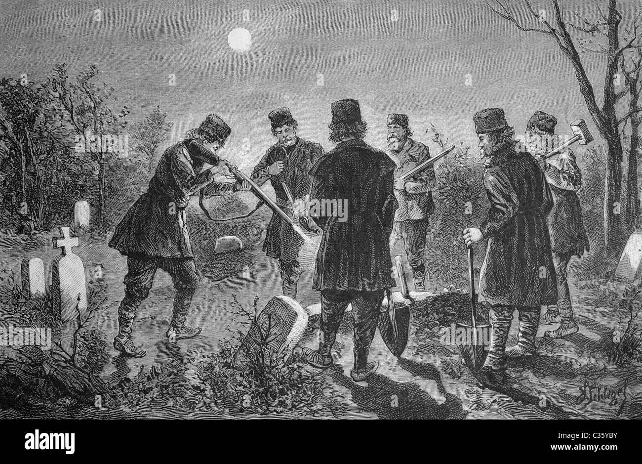 L'interdiction d'un vampire en Roumanie, tableau historique, à propos de 1893 Photo Stock