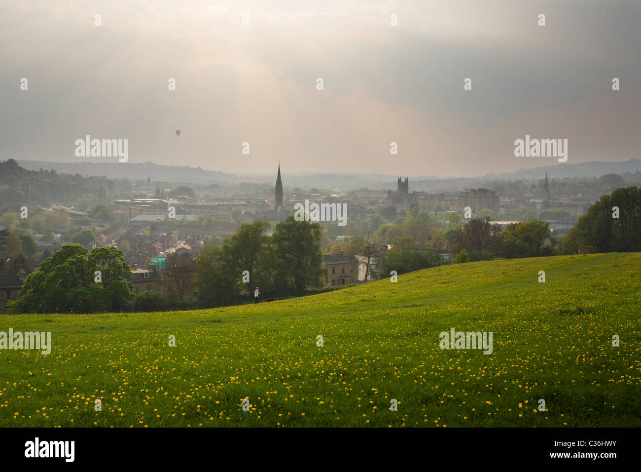 Ville de Bath Bathwick Hill au printemps. Le Somerset. L'Angleterre. UK. Photo Stock