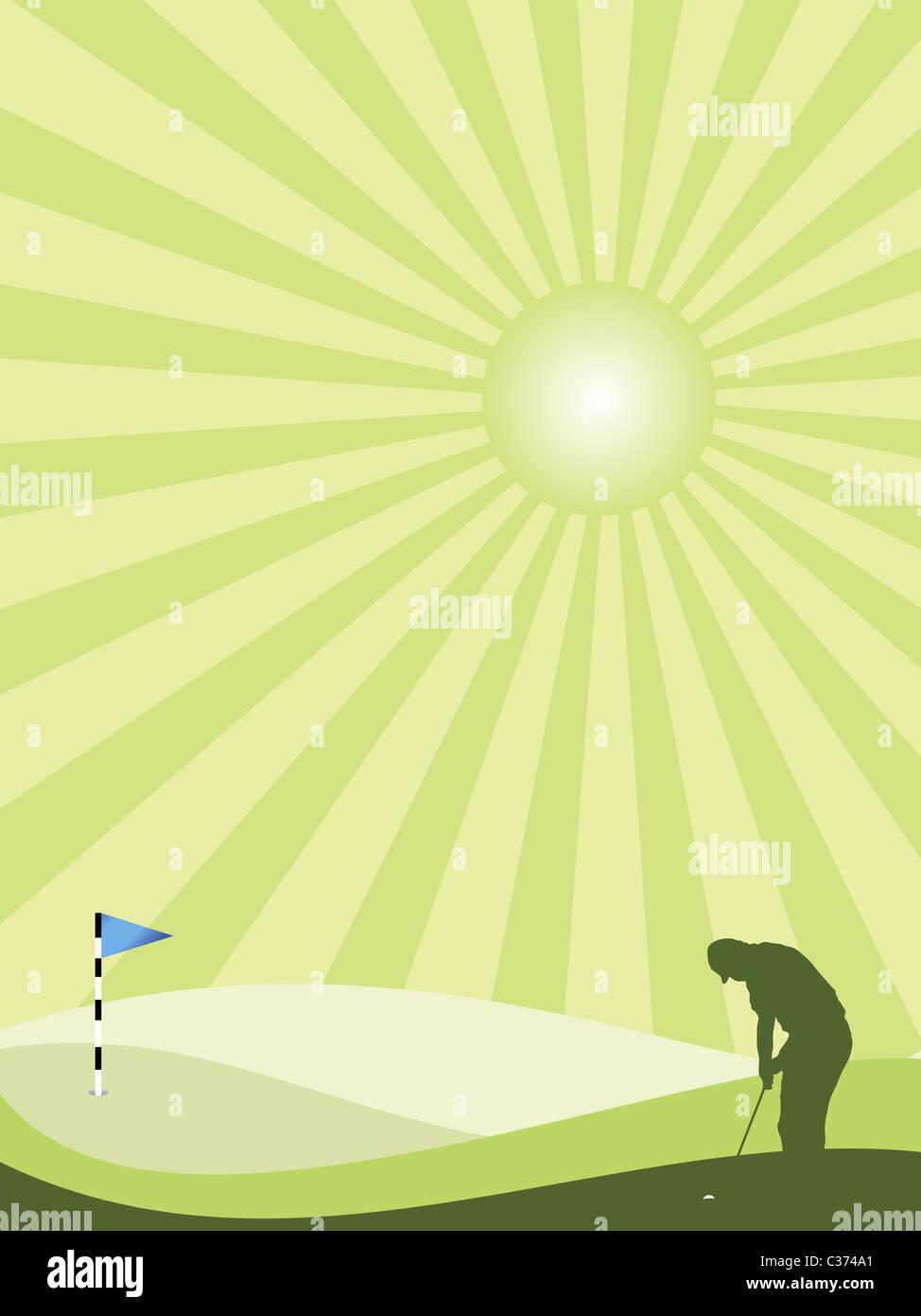 Silhouette golfeur en vert paysage vallonné avec la solarisation sky Photo Stock