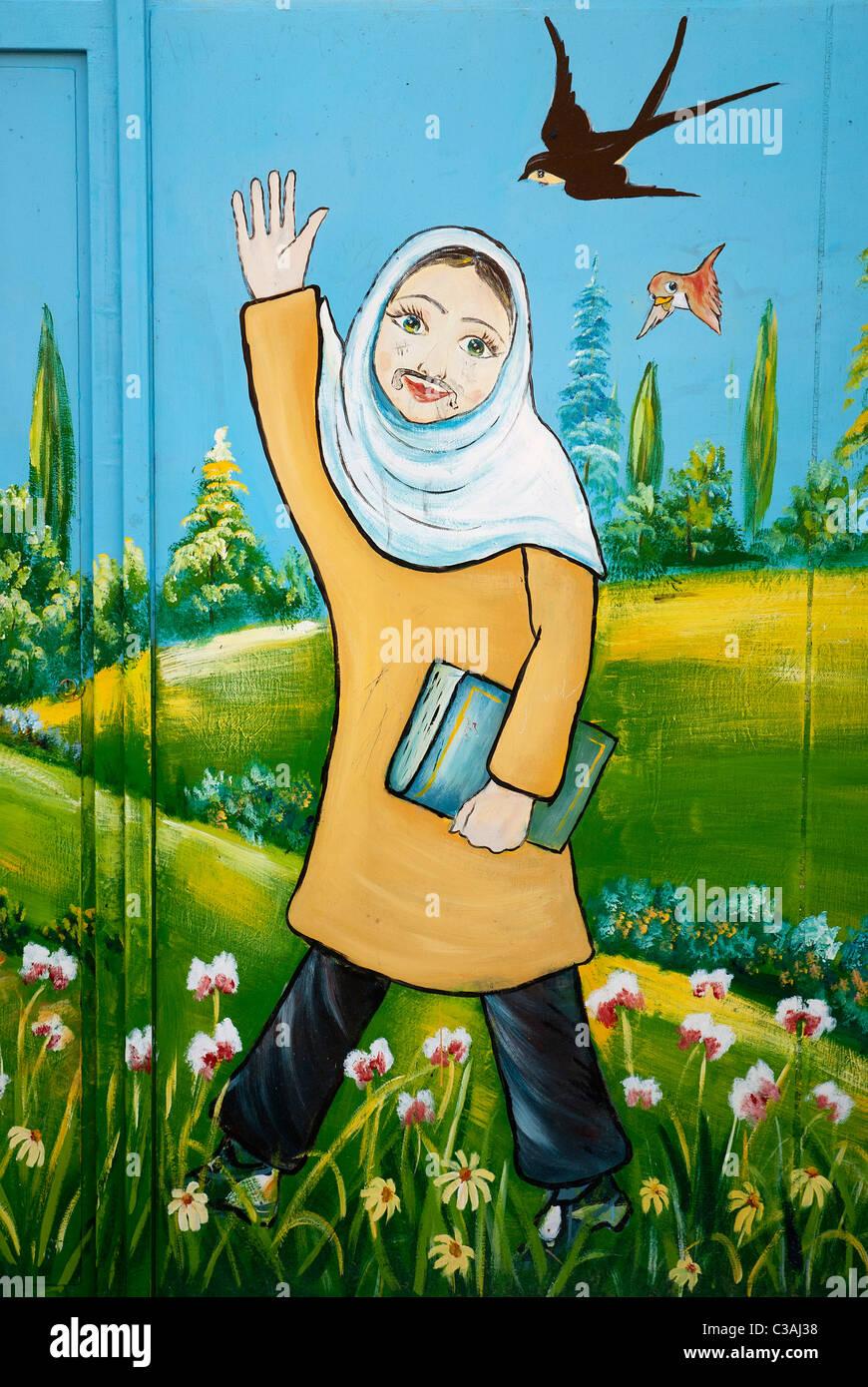 Fresque de lycéenne voilée musulmane iranienne de Yazd, Iran Photo Stock