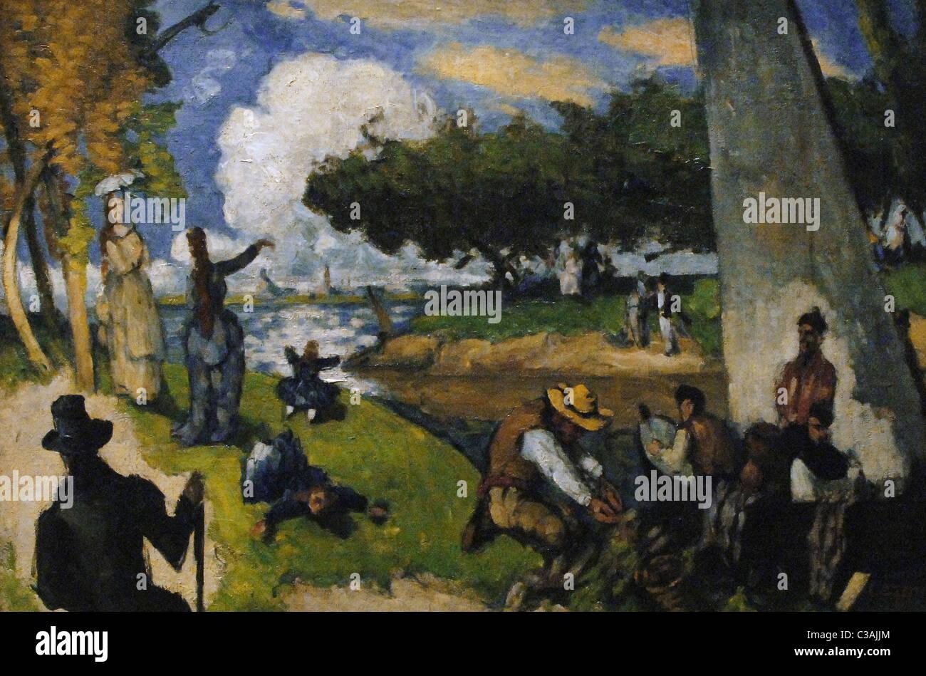 Paul Cézanne (1839-1906). Peintre postimpressionniste français. Les pêcheurs (spectacle). Ca. 1875. Photo Stock