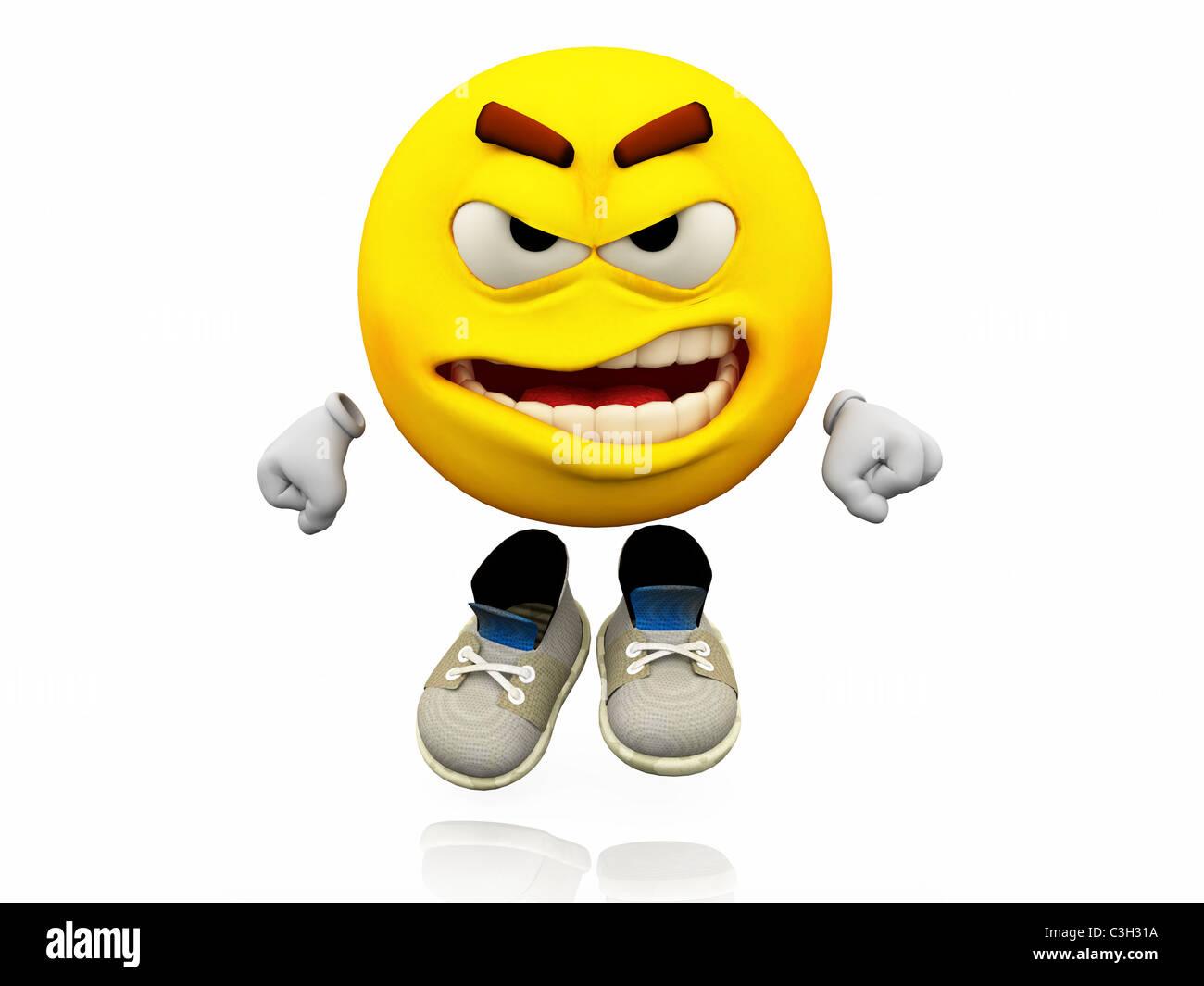 Smiley Emoticone L Expression Du Visage L Expression Emotionnelle En Colere Sur Un Visage Jaune Avec De Grands Yeux Avec Des Chaussures Geste De Colere Photo Stock Alamy