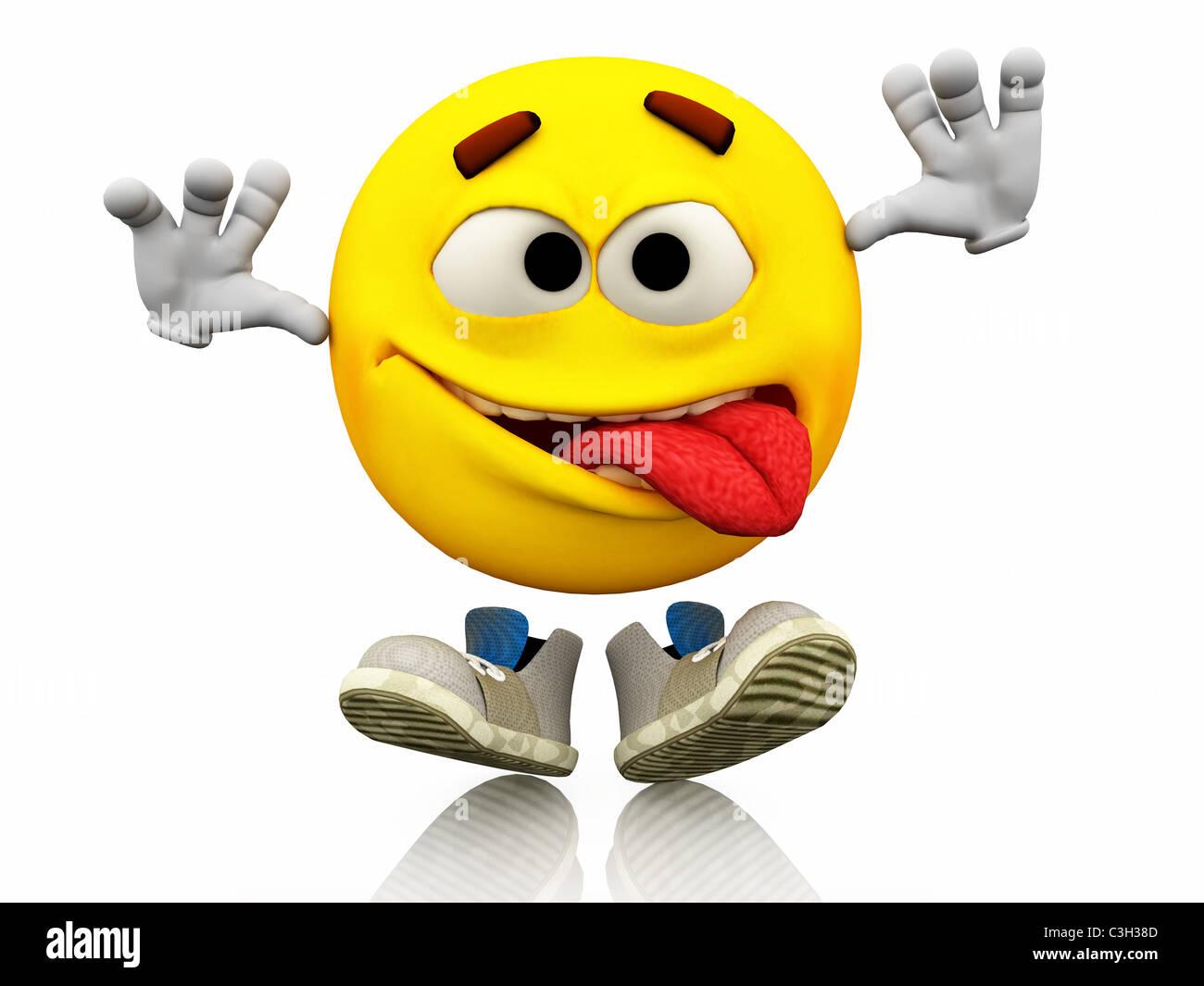 Smiley Emoticone L Expression Du Visage La Langue Expression Emotionnelle Sur Un Visage Jaune Avec De Grands Yeux Avec Des Chaussures Heureux Photo Stock Alamy