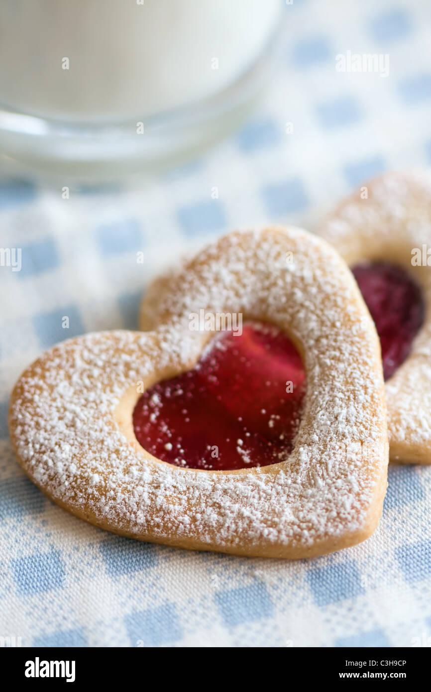 Les cookies en forme de coeur Photo Stock