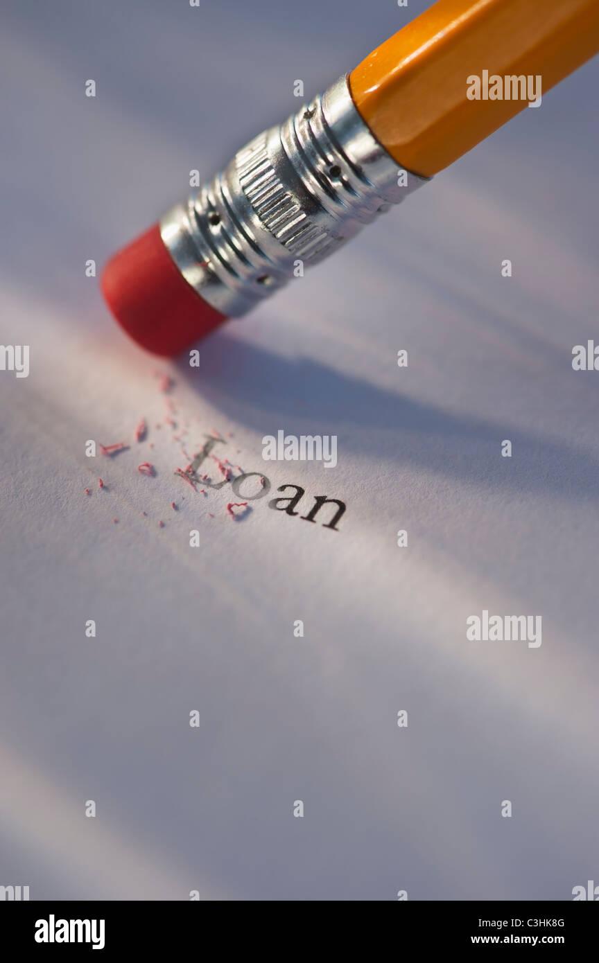 Crayon de l'effacement du mot Prêt du bout de papier Banque D'Images