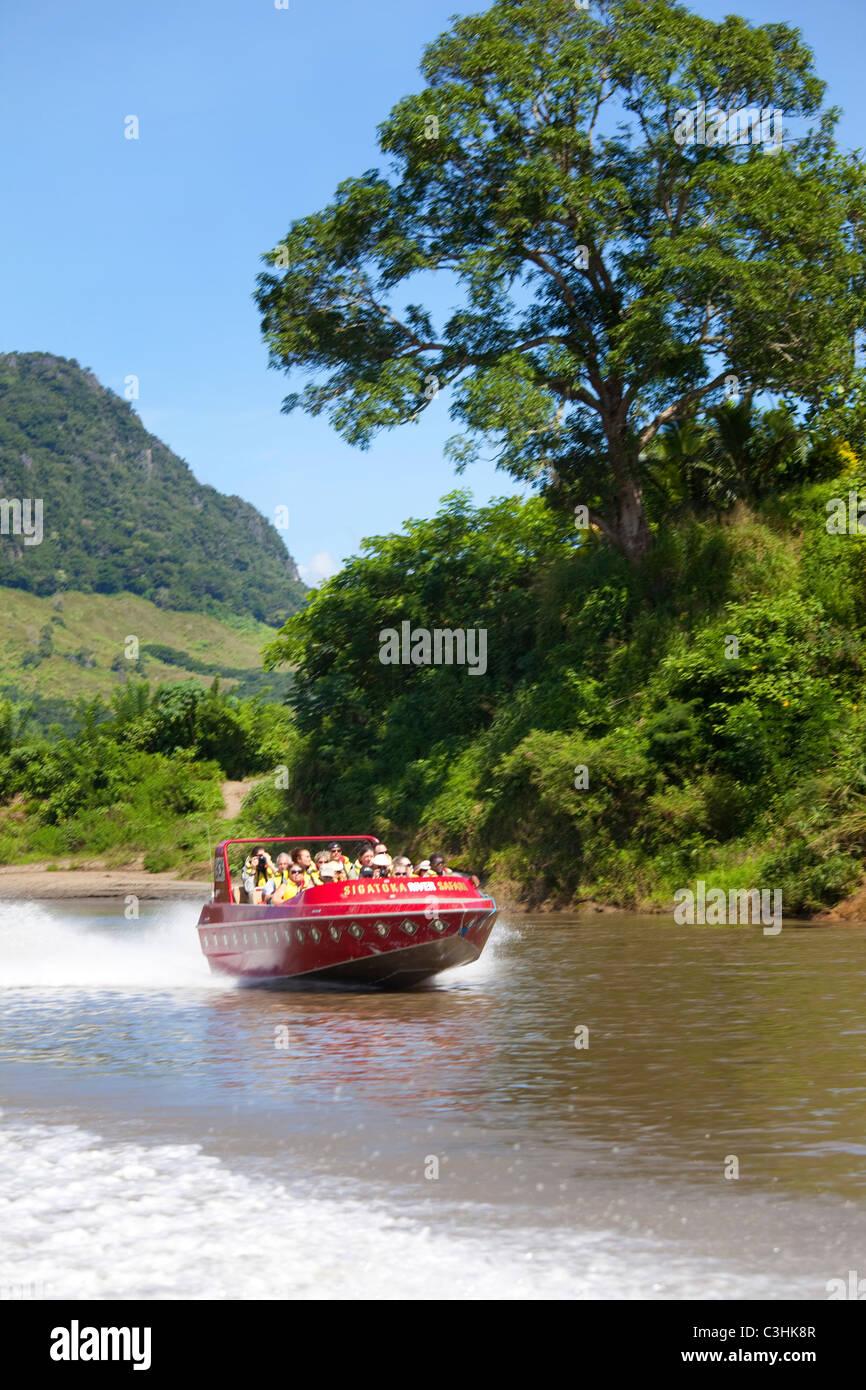 Sigatoka River Safari, jet boat trip, Viti Levu, Fidji Photo Stock