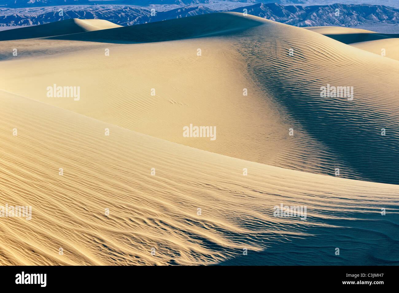 Les modèles de ombres et la première lumière sur le mesquite Dunes in California's Death Valley National Park. Banque D'Images