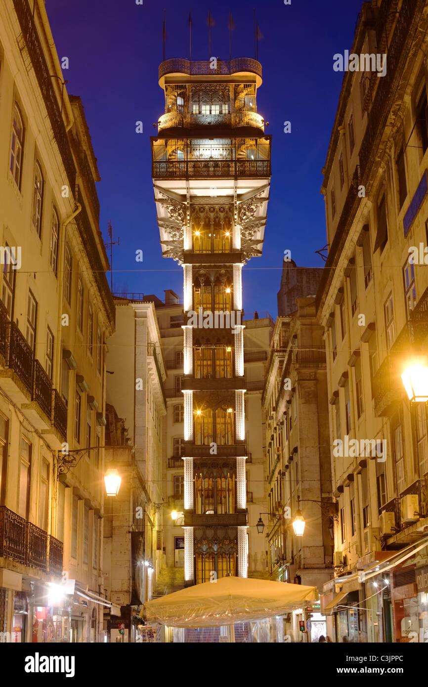 Ascenseur de Santa Justa, Lisbonne, Portugal Photo Stock