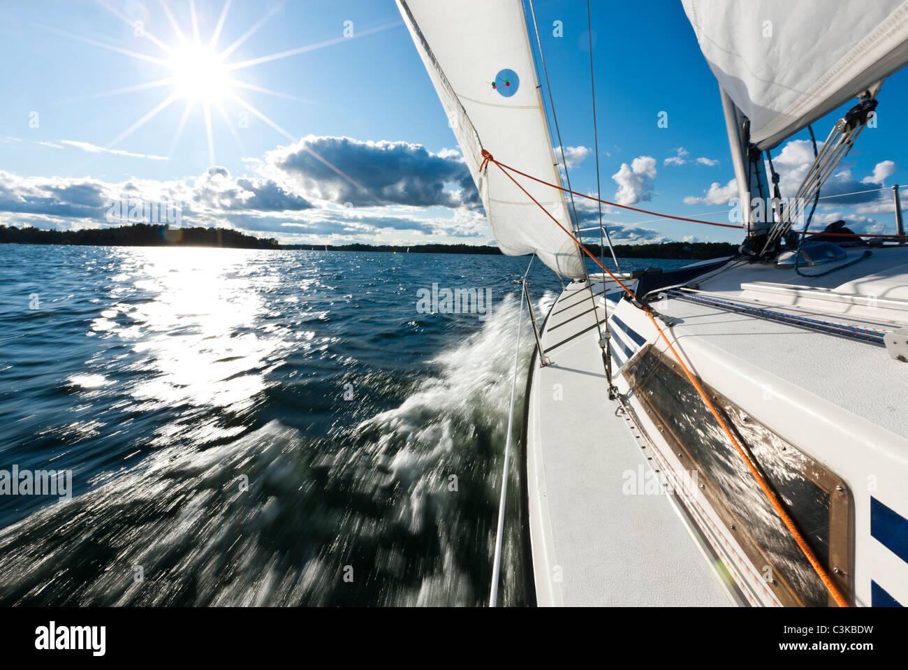 Vue du bateau à voile Photo Stock