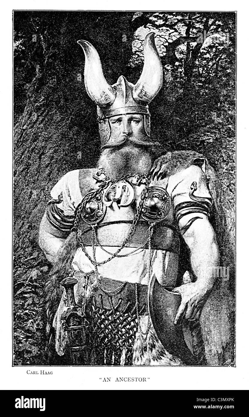 Viking, gravure par Carl Haag d'un ancêtre du Danemark, splendidement habillés dans le costume complet Photo Stock