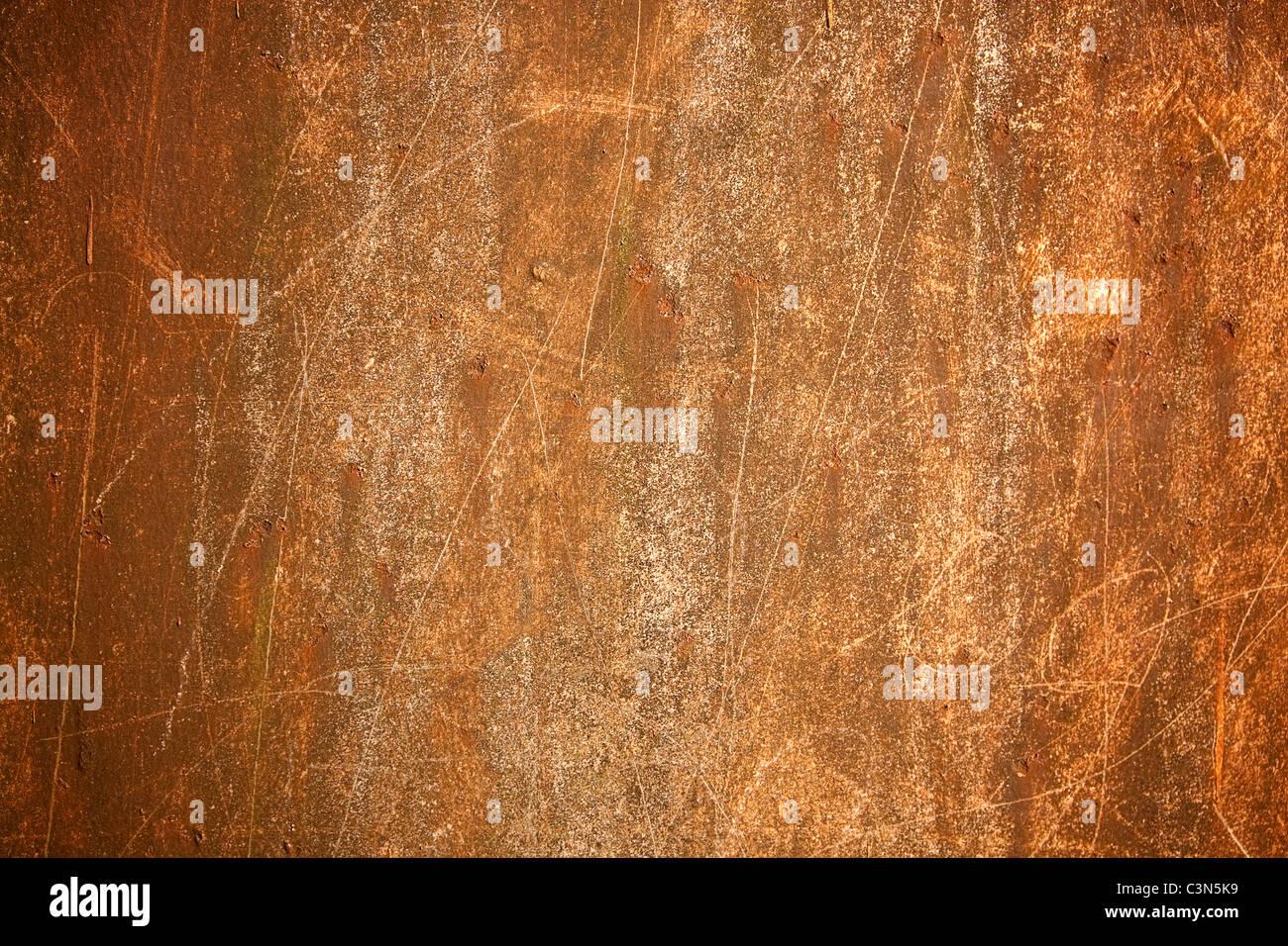 La photographie montre un fond de métal rouillé avec scrachted surface. Photo Stock