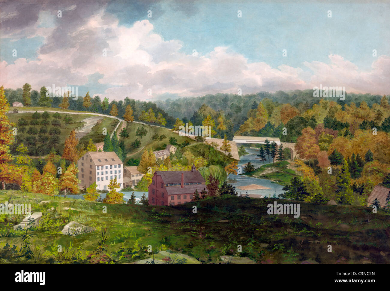 Moulin sur la Brandywine, Delaware, Etats-Unis, plume et aquarelle, circa 1828 Photo Stock