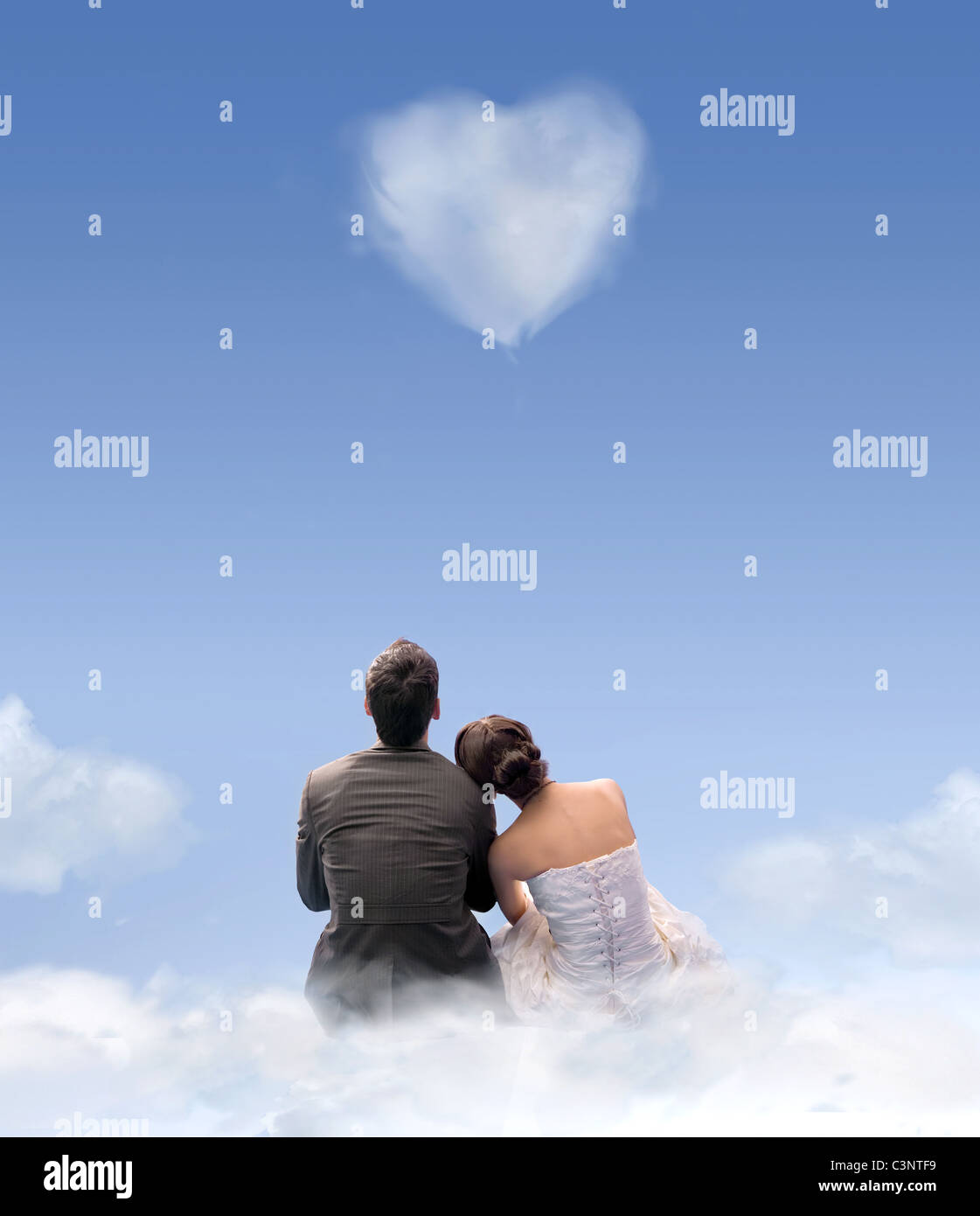 coeur de nuages Photo Stock