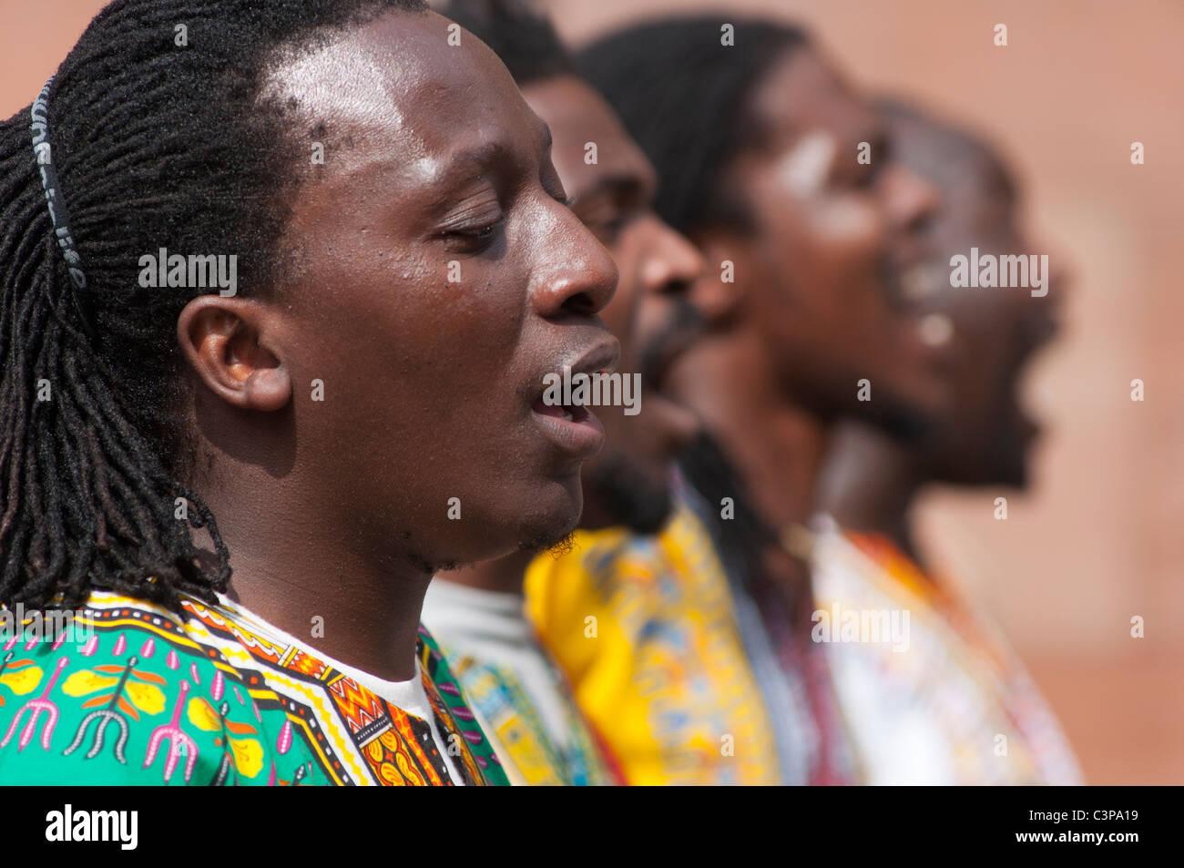 Zimbabwe Le chant des artistes à Chester, en Angleterre. Photo Stock
