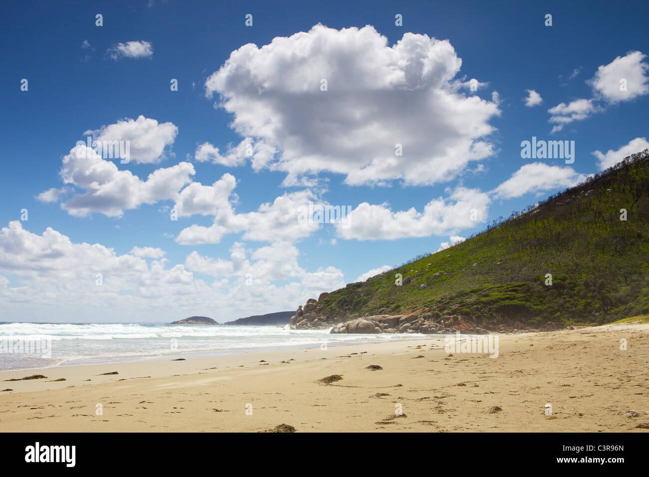 À pied de la rivière à marées de Whiskey Bay Beach et grinçante, Via Picnic Bay. Wilsons Promontory Banque D'Images