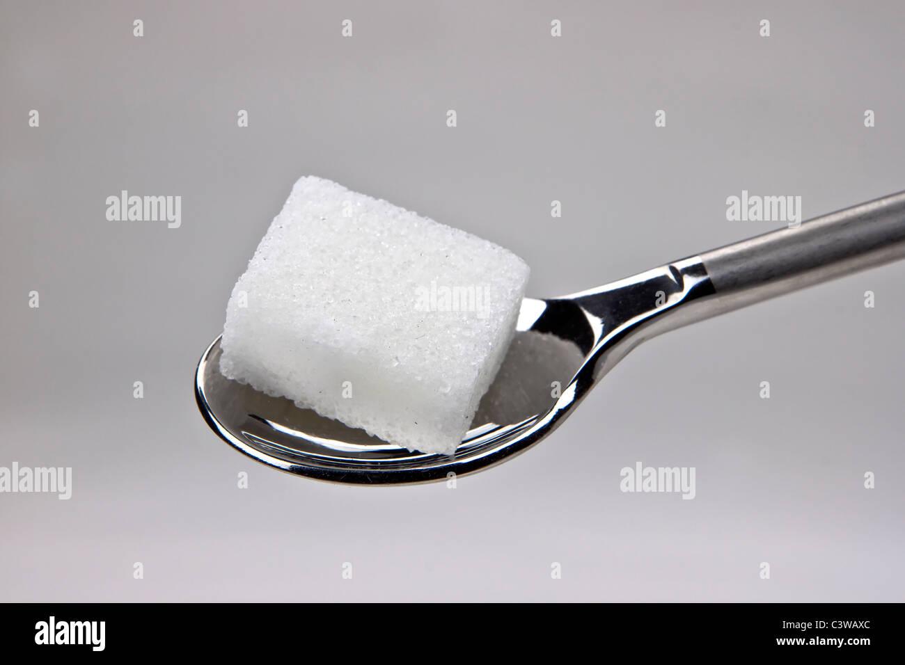 Morceau de cubes de sucre sur une cuillère Photo Stock
