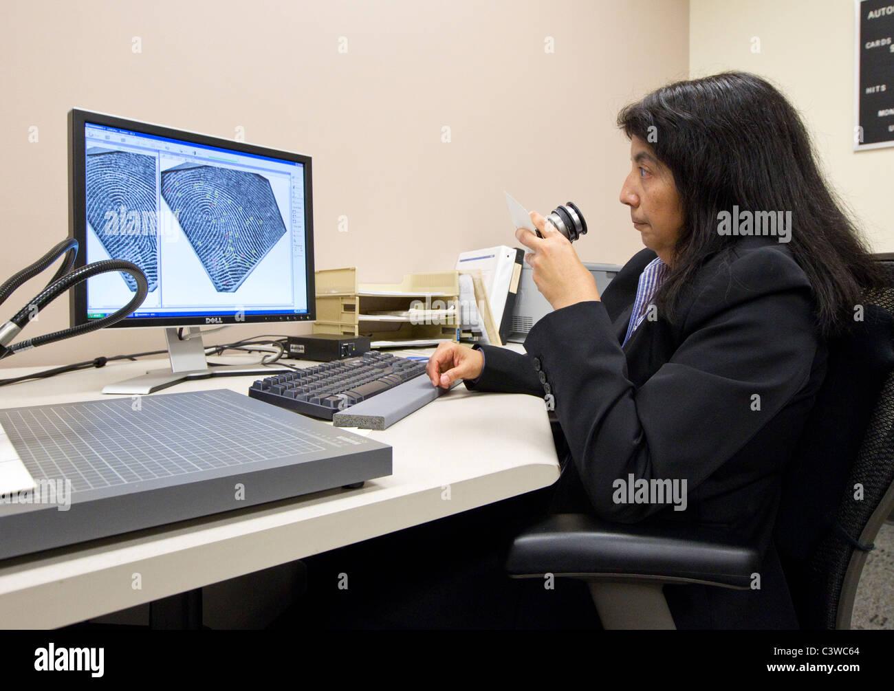 Un Ministère de la Sécurité publique du Texas (DPS) employé compare les empreintes digitales Photo Stock