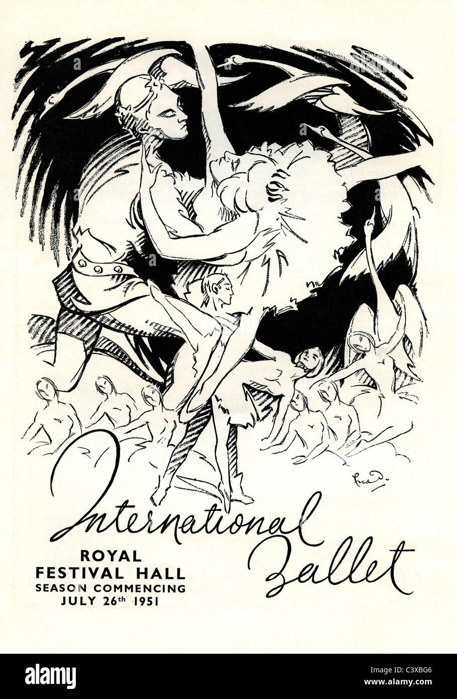 Le Ballet International Publicité dans le programme souvenir du Festival de Grande-Bretagne pour l'ouverture du Banque D'Images