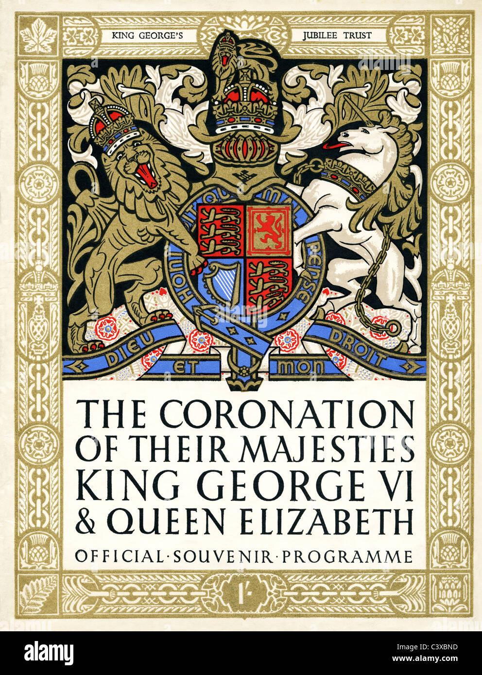 Couvrir d'un programme souvenir officiel du couronnement de Leurs Majestés le roi George VI et La Reine Elizabeth, Banque D'Images
