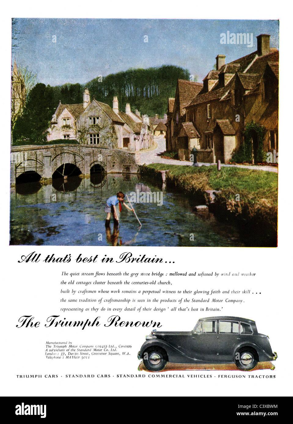 Publicité pour la Triumph Motor Company's location de la renommée, de la triump Festival of Britain guide, publié Banque D'Images