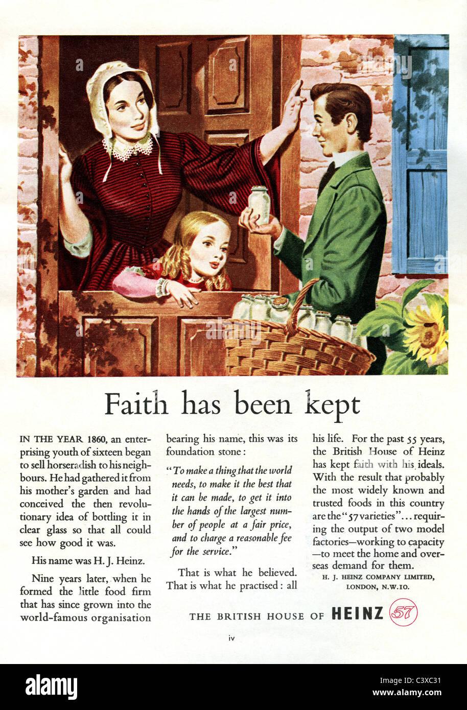 Publicité pour Heinz, de la Festival de Grande-Bretagne guide, publié par HMSO. Londres, Royaume-Uni, 1951 Banque D'Images