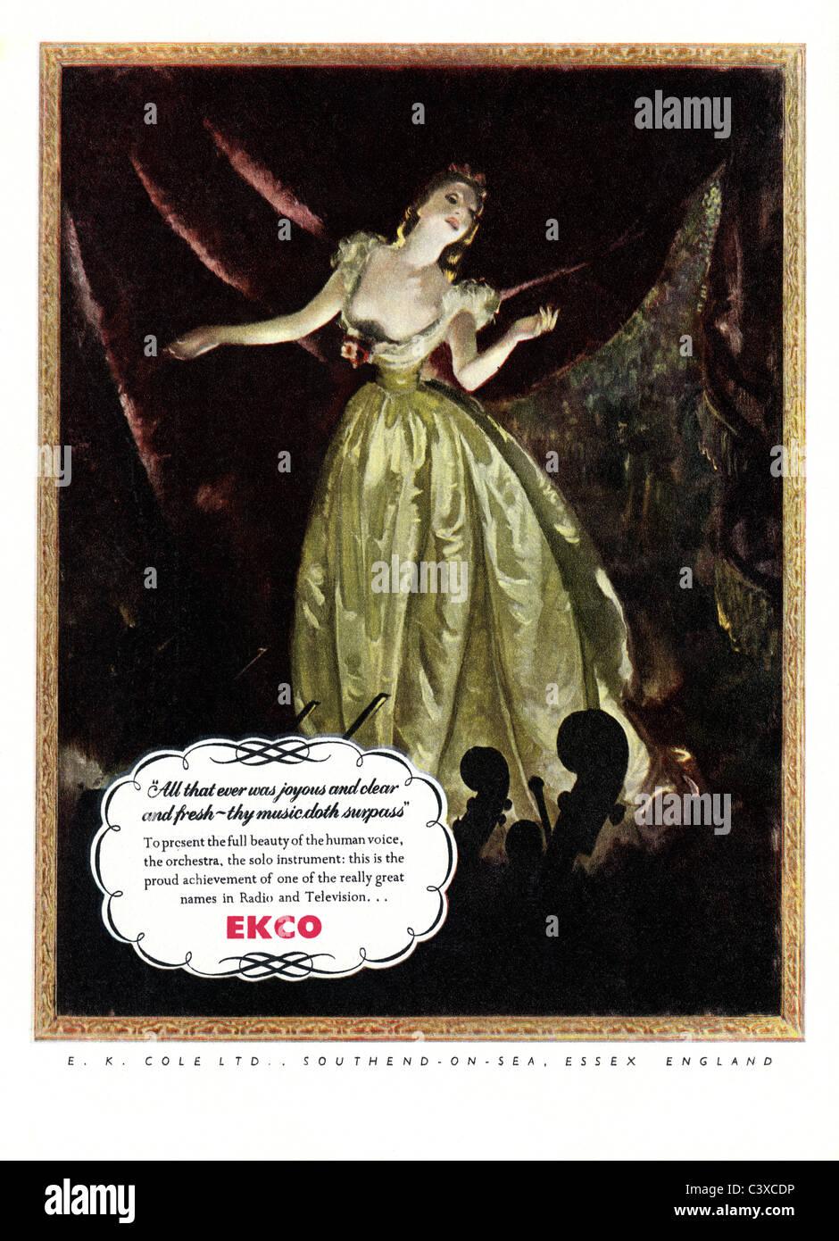 Publicité pour Ekco, du Festival de Grande-Bretagne guide, publié par HMSO. Londres, Royaume-Uni, 1951 Banque D'Images