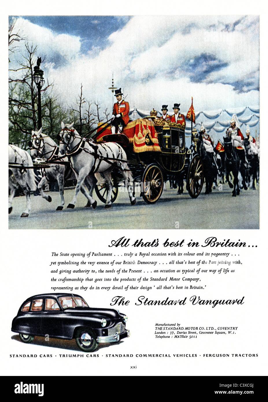 Publicité pour le moteur standard de la voiture de société, la norme d'avant-garde, du Festival de Grande-Bretagne Banque D'Images