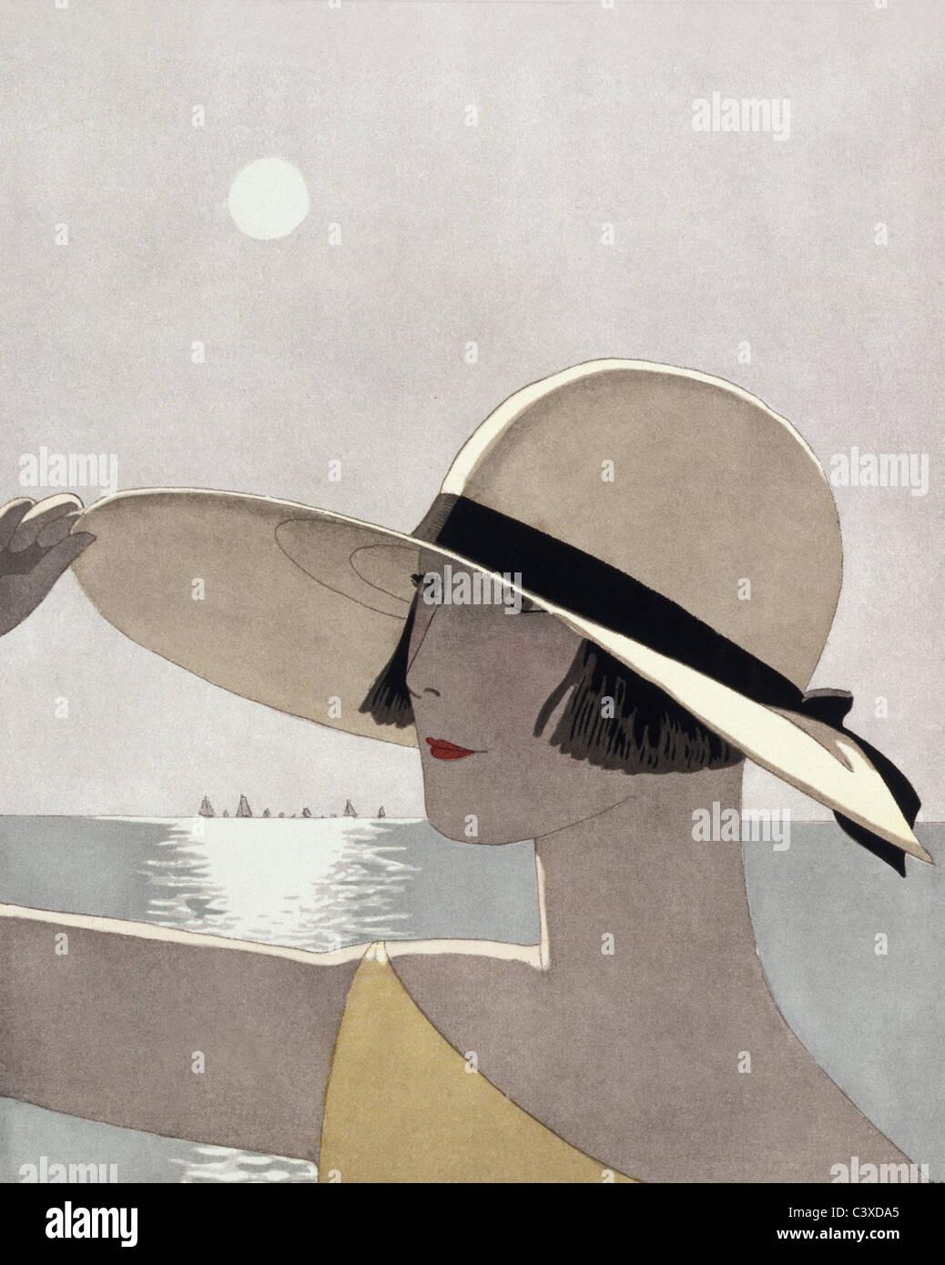 Sur la digue, Chapeau de Marthe Collot, à partir de la Gazette du Bon Ton, par Jean Bernier et Léon Bakst. Paris, Banque D'Images