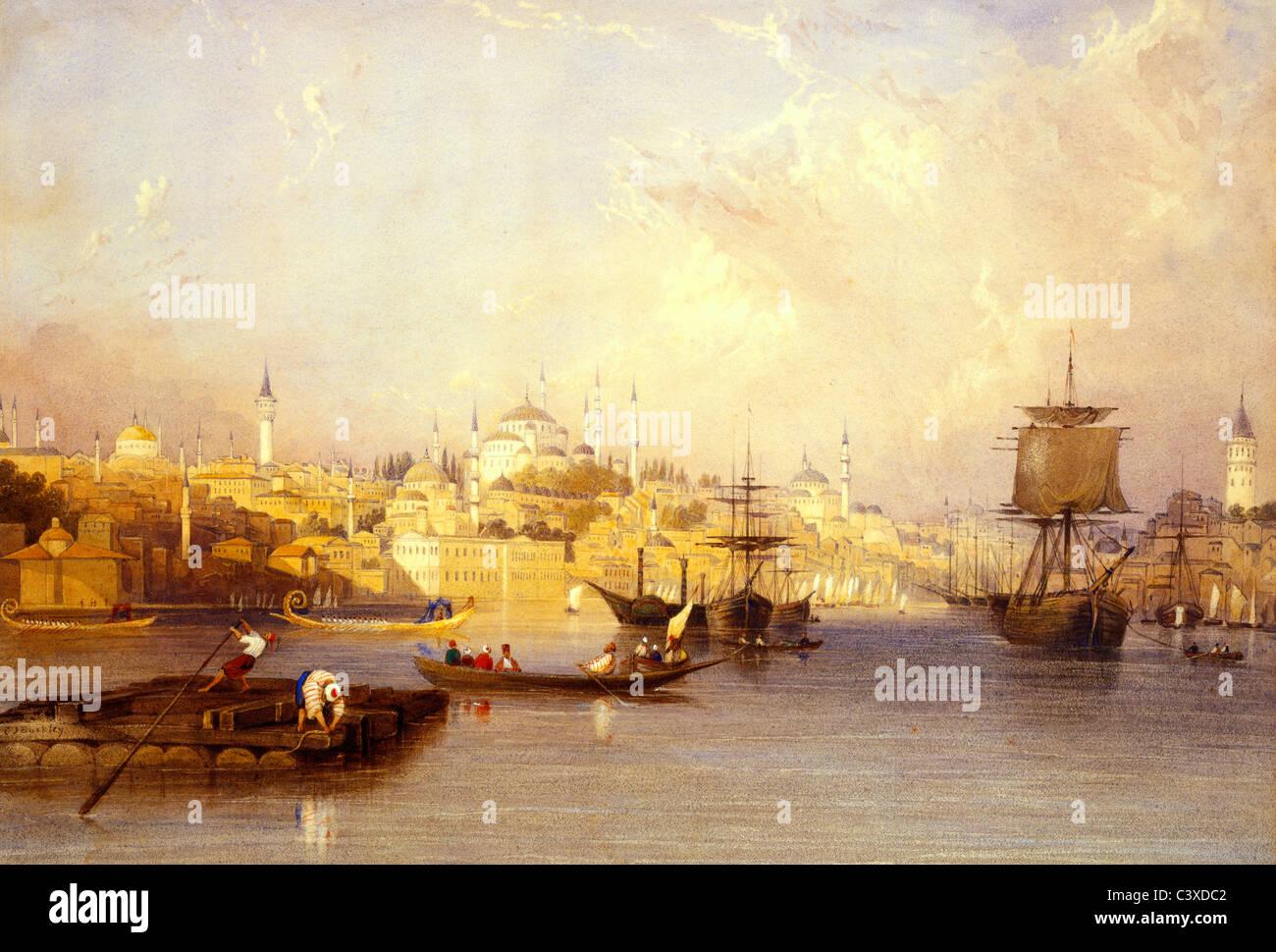 Constantinople: De l'entrée de la Corne, par Charles F. Buckley. Constantinople, Turquie, 19e siècle Banque D'Images
