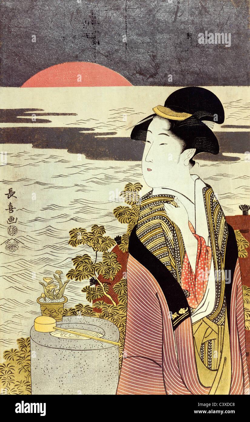 Une fille et le lever du soleil sur la mer à la nouvelle année, par Eishosai Choki. Le Japon, 18e siècle Banque D'Images