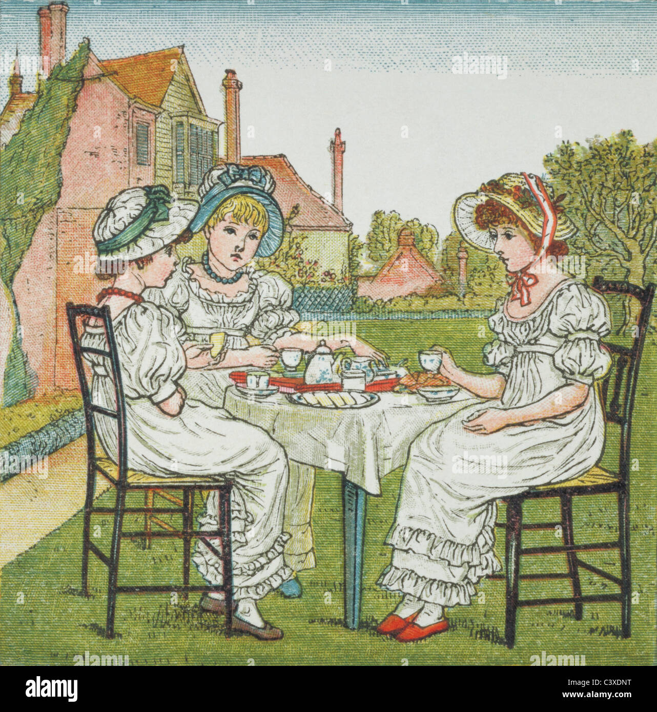 Tea Party, illustration par Kate Greenaway. Londres, Angleterre, fin du 19e siècle Banque D'Images