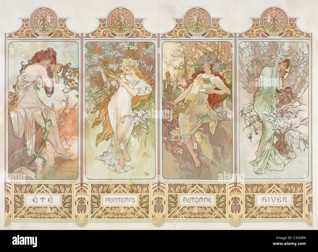 Les saisons, par Alphonse Mucha. Paris, France, 20e siècle Banque D'Images
