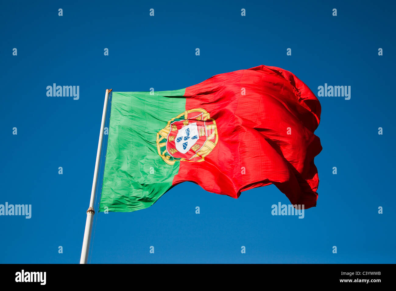 Le Portugal, l'Europe, drapeau, banderole, drapeau, vert, rouge Photo Stock