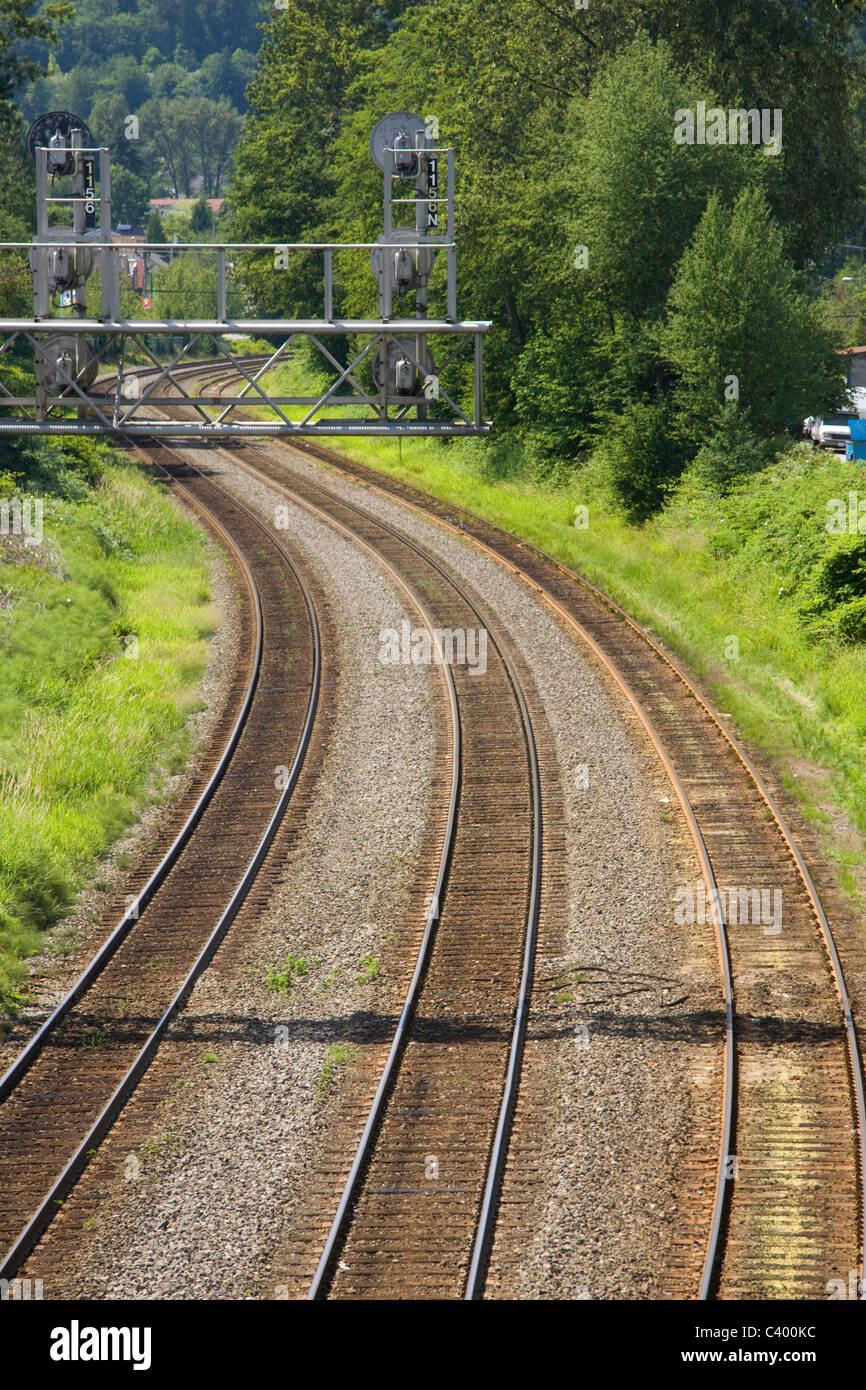 Les rails courbes et des systèmes de signalisation Port Moody, C.-B., Canada. Banque D'Images