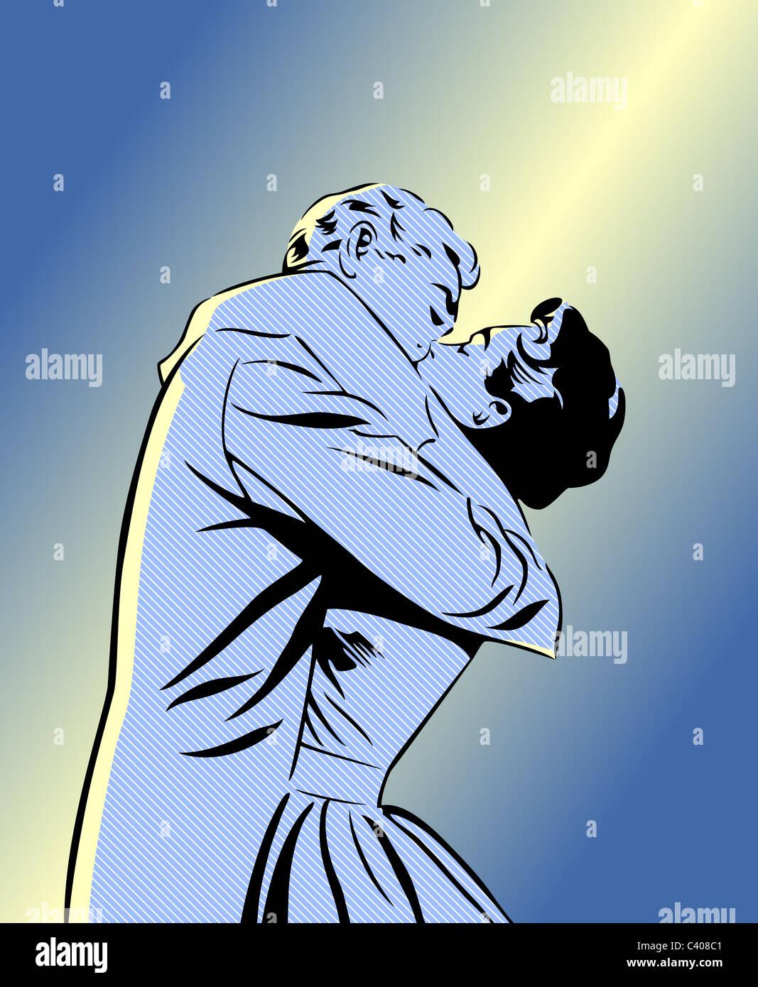 Un rétro style bande dessinée illustration d'un couple kissing Photo Stock