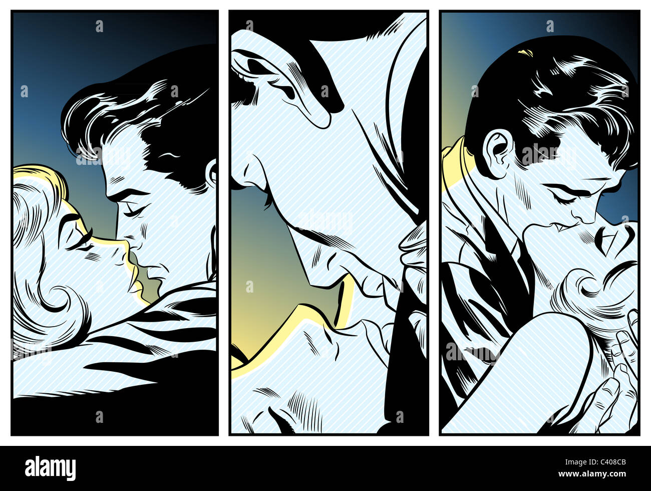 Une bande dessinée retro illustration de trois couples kissing Photo Stock