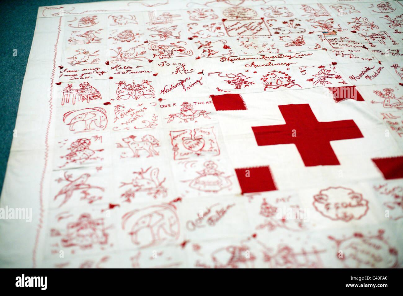 Le rouge et le blanc American Quilt Banque D'Images
