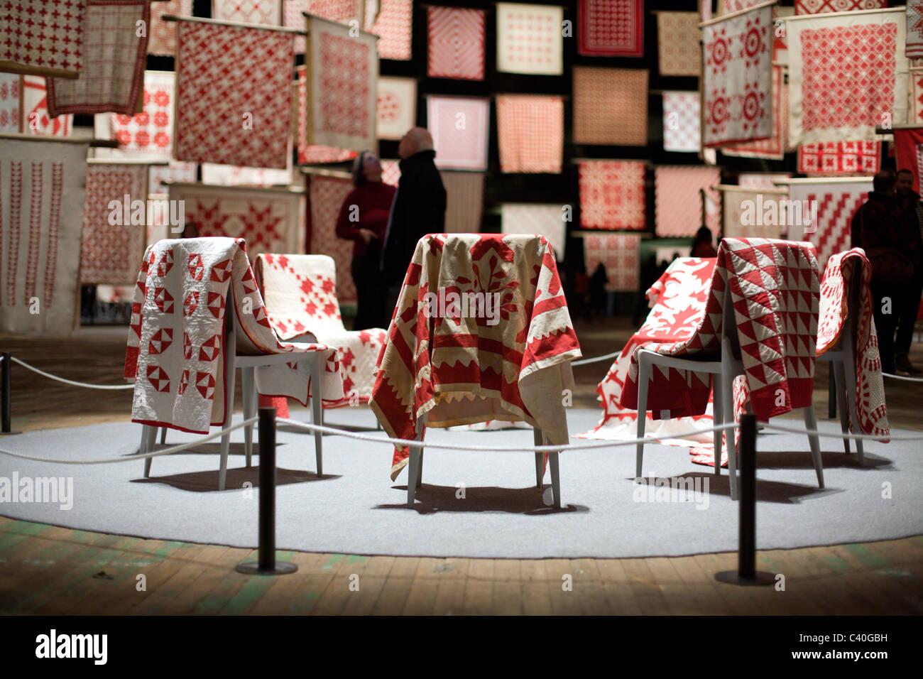 Le rouge et le blanc American Quilts Banque D'Images