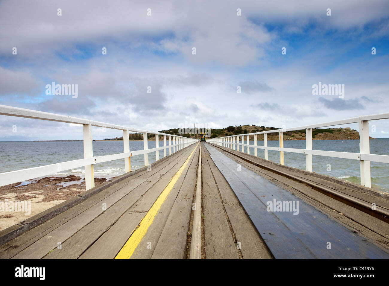Victor Harbor, Granite Island et de tramway tiré par Clydesdale Photo Stock