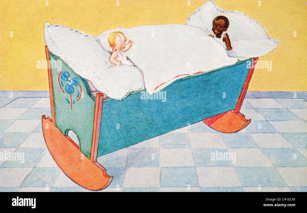 Deux bébés le partage d'un socle à partir d'un original post card Photo Stock